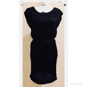 Young by Yoyo Yeung Black Knit Sequins Dress Sz S